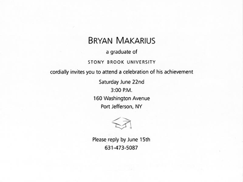 STONY BROOK UNIVERSITY • Class of 2002 Private Party Invitation: Inside