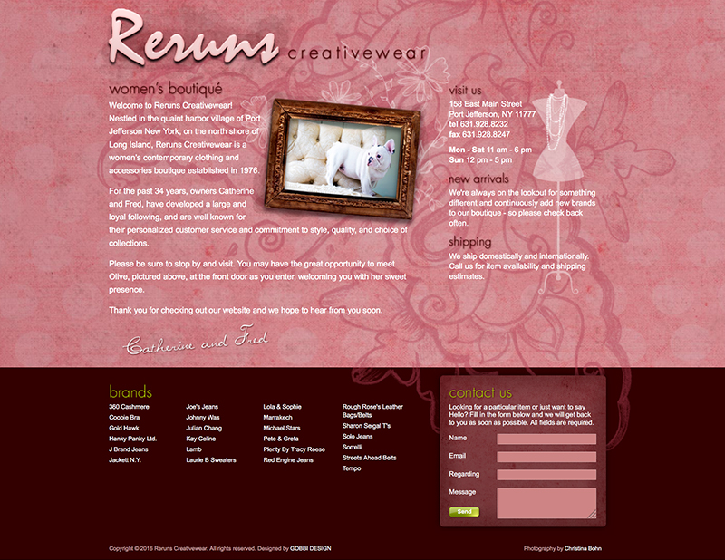 rerunscreativewear.com Home Page