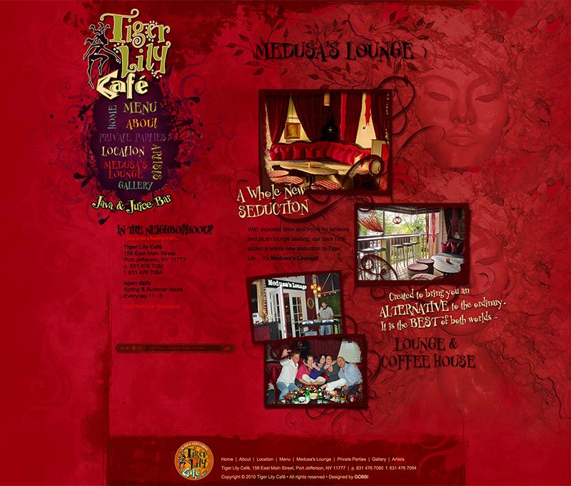 tigerlilycafe.com Medusa's Lounge Page